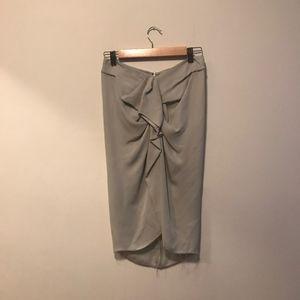 Isabel Marant Silk Ruffled Front Pencil Skirt